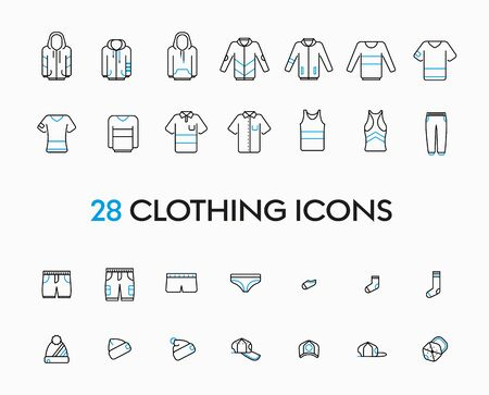 Collection of vector and linear illustration of �lothes icons on a white background. Casual, sportswear and signs for a clothing store and accessories. Stock Illustratie