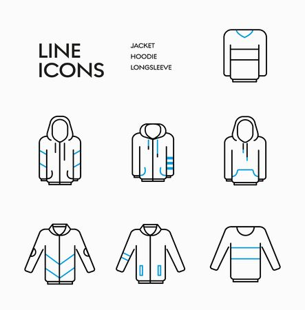 Outerwear vector  linear icons set. Hoodie, longsleeve and jacket signs design in blue elements. 일러스트