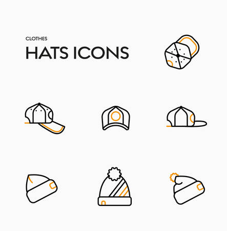 Set of vector icons of caps and winter hats.