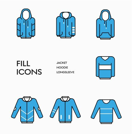 Set of vector clothing icons with blue fill and black stroke. Templates for web and print.