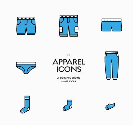 Set of vector icons of men's underpants, shorts, pants and socks. Blue fill and black stroke clothing sign templates.
