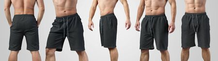 Mockup of male black shorts on a young guy for design presentation, set with front, side and back views. Template of empty clothes for advertising in the online store.