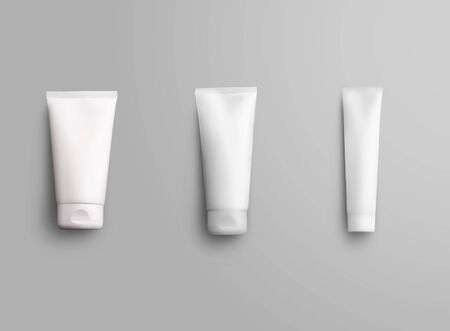 Template of short,medium and long tube for cream on an isolated white background for design presentation. Mockup of empty packaging with lotion for advertising in an online store. Set of three bottles