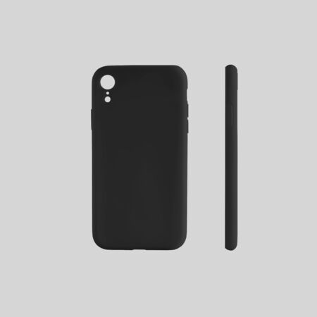 Mockup of black plastic container on smartphone isolated on a white background. An empty case template for presentation of design and advertising in the online store