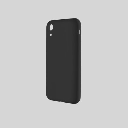 Mockup of black case on mobile phone for design presentation, isolated on white background. Blank cover template on smartphone for advertising in the online store Stock Photo