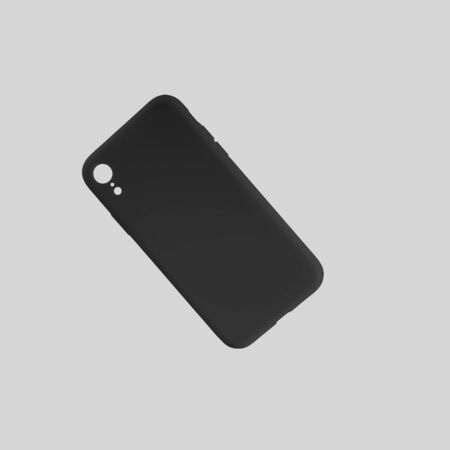 Mockup of plastic case for smartphone, isolated on white background, for design presentation. A template of a black cover on a mobile phone for advertising in an online store