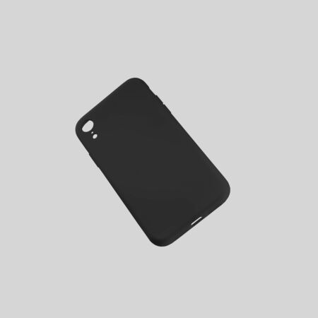 Template of a black container on a mobile phone, isolated on a white background, for design presentation. Mockup plastic smartphone case for advertising in the online store