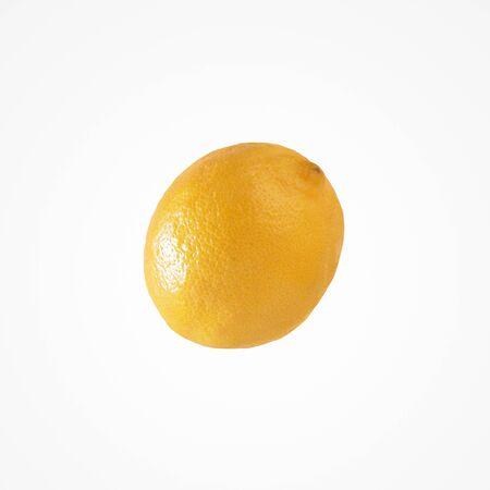 Fruit citrus composition. Healthy vibrant single lemon isolat on blank studio background.  Stock Photo