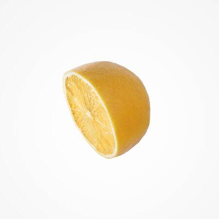 Fruit citrus composition. Juice colorful half an lemon isolat on blank studio background.  Stock Photo