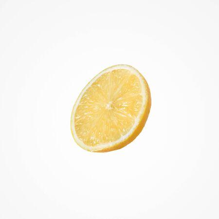 Fruit citrus composition. Dietetic yellow slice an lemon isolat on white studio background.  Stock Photo
