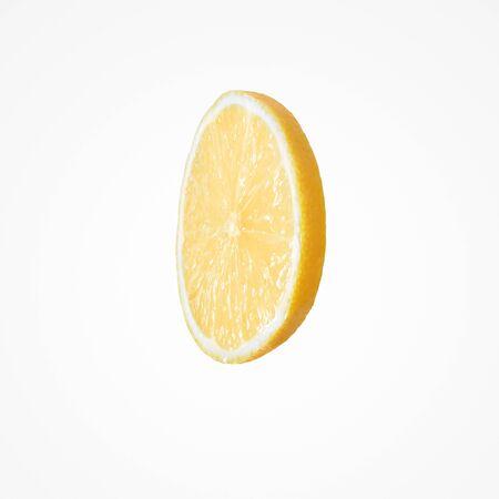 Fruit citrus composition. Juice colorful slice an lemon isolat on blank studio background.