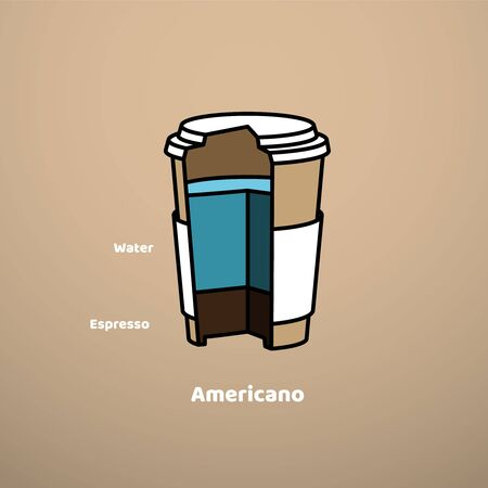 Cut vector cardboard glass with coffee drink Americano. Infographic composition design and cooking recipe. Vintage style template.