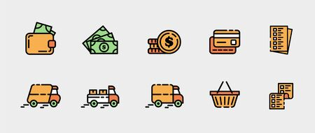 Design of vector icons on the topic of sales in the online store, card payment and delivery. Linear illustrations template in orange, yellow and green. Set with money, cart purchases and a checklist.