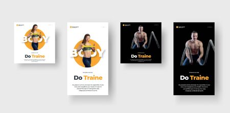 Flyer design on a black and white background, with a girl and a guy, on the theme of sports and nutrition. Banner template for stories and post. Personal trainer and nutritionist.