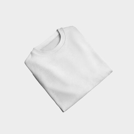 Mockup of white textile pullover, incline and folded, front view, isolated on background.