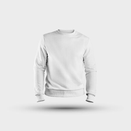 Mockup of fashionable white heather, men's sweatshirt without a body, for presentation of design and pattern. Pullover template, front view, 3D rendering, empty clothes on an isolated background