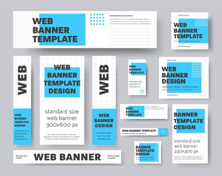 Set of vector geometric web banners with blue rectangle and gray squares. Template for advertising and social media. Sample design Ilustración de vector