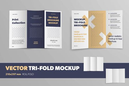 Set of open vector booklet on a gray background with a pattern. Mockup realistic brochure for presentation design. Business trifold template with shadows.