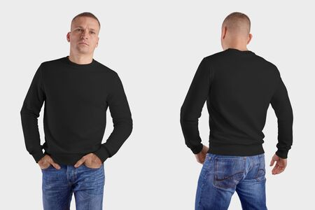 Set of male clothes on a man in blue jeans, front, back, mockup of a black sweatshirt with realistic shadows, for the presentation of design and pattern. Template of heather isolated on background