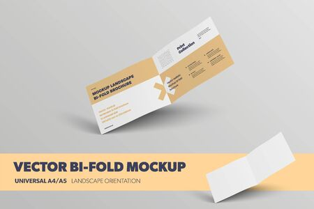 Mockup of vector unfolded landscape bifold, inside, isolated on background. Abstract brochure business brochure template for presentation design. Universal standard booklet with realistic shadows.