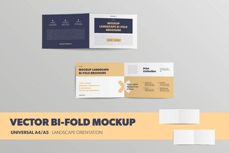 Mockup of open Bifolds, front and back, universal booklets A4, A5, isolated on the background. Landscape brochure blank template for presentation design. Set of leflets with realistic shadows
