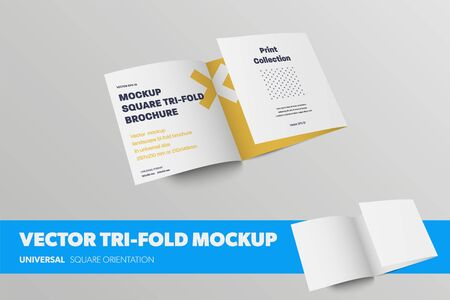 Half-open vector tri-fold template, front view, standard business leaflet, with abstract pattern, realistic shadows, isolated on background. Mockup square roll fold brochure for design presentation
