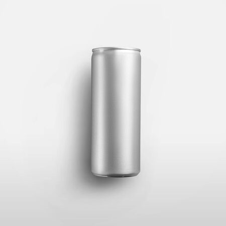Template of a tall empty shiny bottle with a refreshing drink, a tin can with alcohol, with realistic shadows, isolated on a white background. Mockup aluminum tonic container, beverage packaging