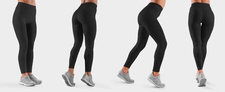 Mockup of black leggings on a slim girl, women's sportswear, isolated on background. Template of stretch empty pants, for presentation design. Fitness clothing set, front, side, back view Foto de archivo
