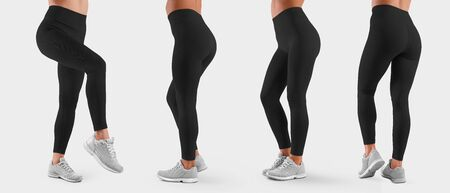 Template of stretch women clothes on the slender legs of the girl, for the presentation of design and pattern. A set of black pants for sports and fitness. Mockup leggings isolated on background