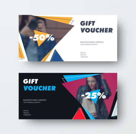 Vector gift card template with triangles and photos, white, black voucher 25, 50%, with illustration, with realistic shadows. Presentation of certificate design with special offer, discount, promotion