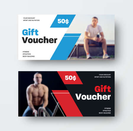 Layout of a vector voucher with a photo of an athlete, with a special offer, black and white gift card on the theme of sports, nutrition.Certificate design presentation template in red and blue colors