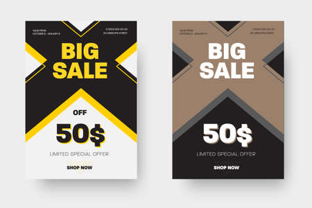 Template of vector white and black poster with a cross, limited special offer, big sale in presentation of design and pattern. Set of banners with yellow and nude elements for advertising in the store