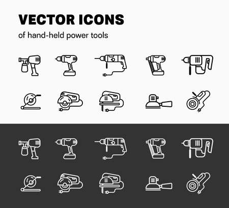 Vector linear graphics, illustration of hend-held power tools, isolated white elements on a black background and black on white. Icon design for instrument for building and repair.Set Electric Machine