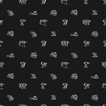 Vector seamless pattern with linear icons isolated on black background, set of construction tools. Illustration of elements for repair. Electric Machine Design Presentation