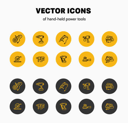 Vector linear icons in a yellow and black circle isolated on a white background, presentation of the design of construction tools. Illustration instrument for building and repair. Set Electric Machine