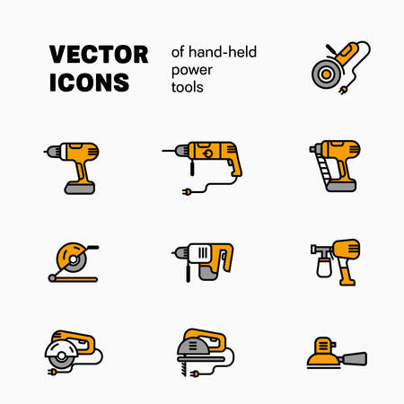 Vector linear illustration of hend-held power tools, isolated on white background, instrument for building and repair icons. Set of colored elements for design presentation. Engineering Collection