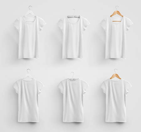 Mockup of white womens t-shirt hanging on a plastic, fabric and wooden hanger, blank clothes for design presentation. Template of cotton wear, isolated on a background with realistic shadows. Set Stock fotó