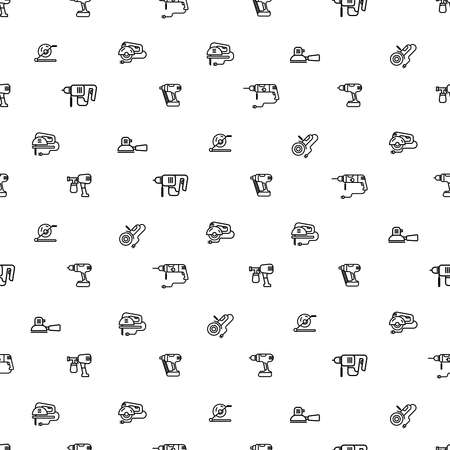 Vector seamless pattern with linear icons on the theme of construction and hand-held electric machines. Template elements, builder tools, black signs on a white background. Isolated tool design Illustration