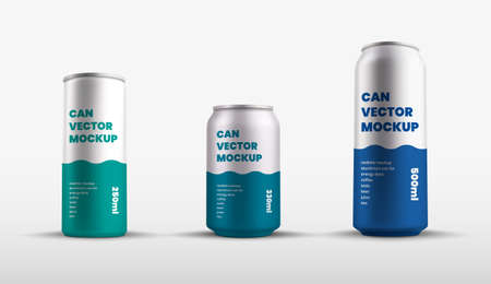 Mockup of vector tin cans with presentation of color design, aluminum water bottle. Set containers 250, 330, 500 ml for soda, refreshing drink. Shiny silver pack template with realistic shadows. Vecteurs