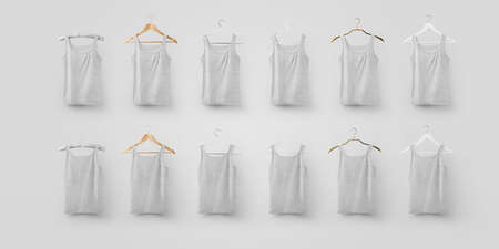 Template of gray underwear hanging on different textured hangers, blank t-shirt for design presentation. Mockup of fashionable branded clothing on a white background. Set of stylish apparel heather Stock fotó