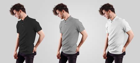 White, gray, black polo template on young guy in jeans, with hand in pocket, fashionable blank t-shirt isolated on background. Mockup of textured men's clothing, side view. Set of clothes