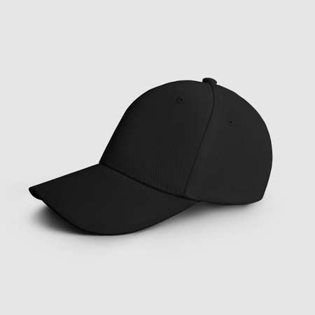 Black blank cap template for design and pattern presentation, side view. Mockup of sports panama with visor, uniform with realistic shadows, isolated on white background. Textile hat