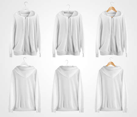 Mockup of a white zip-up hoodie with ties, pockets, hanging on a hanger, front, back view, isolated on background. Sweatshirt template, for design presentation, advertising in an online store. Set.