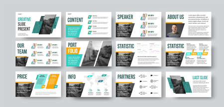 Presentation slide for annual report in green, orange color with geometric illustration. Vector infographics for business concept, informative booklet with design. Data analytics docs set