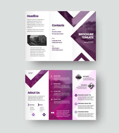 Vector trifold with company information presentation, colorful design, triangles inserts, photo. Brochure template with realistic shadows, business concept, booklet for advertising, promotion. Set
