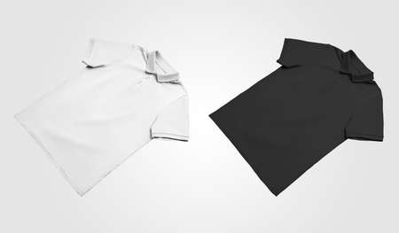 White, black stylish polo template, beautifully laid out, blank clothes for design presentation. Mockup casual t-shirt with button down collar isolated on background. Set of textile clothing