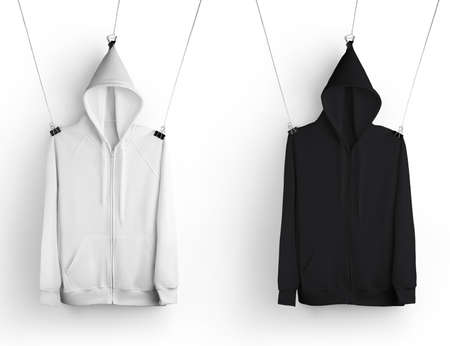 Template of stylish white, black apparel hanging on a rope, hoodie with pocket, zipper closure, for design presentation. Mockup casual wear isolated on background. Sweatshirt set, front view