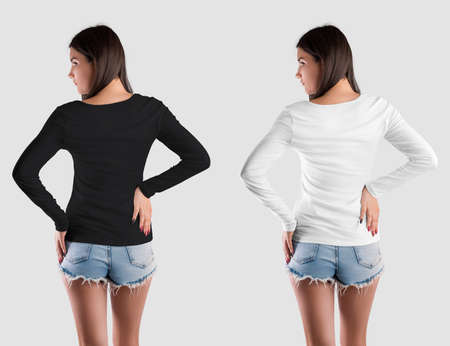 Mockup of women's clothing, white, black sweatshirt with long sleeves on the girl, back view, isolated on the background. Clothes template for design presentation, advertising in an online store. Set