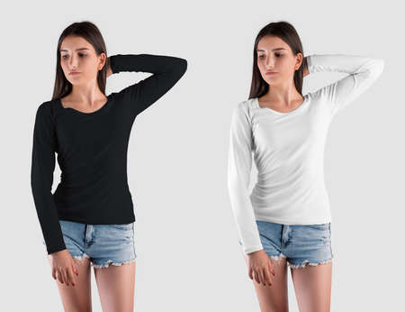 Template of a white, black sweatshirt on a pretty girl, long-sleeved pullover for presentation of design, pattern. Mockup of stylish womens clothing isolated on background, for advertising, front view
