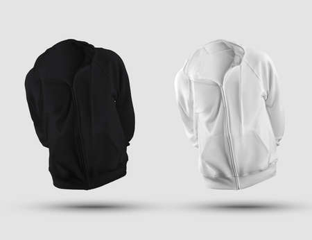 Mockup of white, black mens hoodie 3D rendering, with zipper fastener, pocket, ties, front view, isolated on background. Clothes template for presentation of design, print, pattern. Blank sweatshirt set